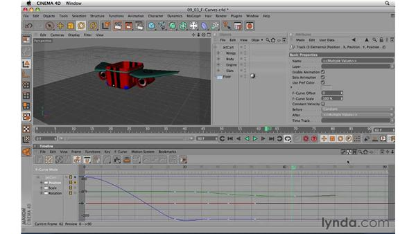 Fine-tuning keyframes using FCurves: CINEMA 4D R11.5 Essential Training