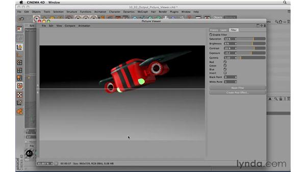 Outputting a file using the picture viewer: CINEMA 4D R11.5 Essential Training