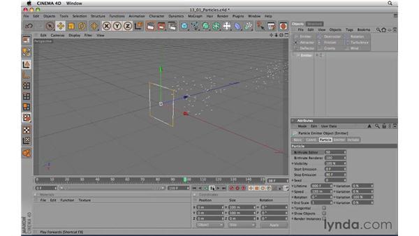 Introducing particles: CINEMA 4D R11.5 Essential Training