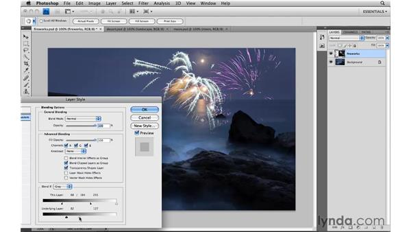 Using Advanced Blending sliders: Photoshop CS4: Image Compositing for Photographers