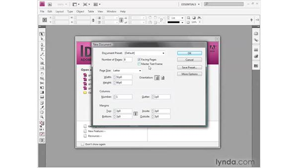 Starting a new document: InDesign CS4 Getting Started