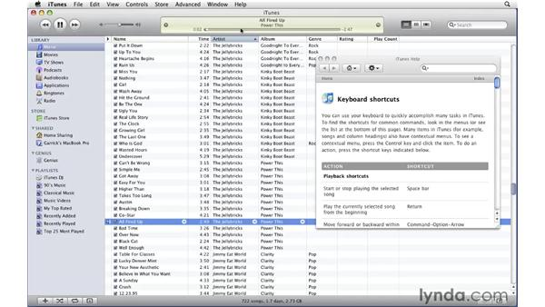 Using keyboard controls: iTunes 9 Essential Training
