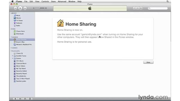 Turning on Home Sharing: iTunes 9 Essential Training