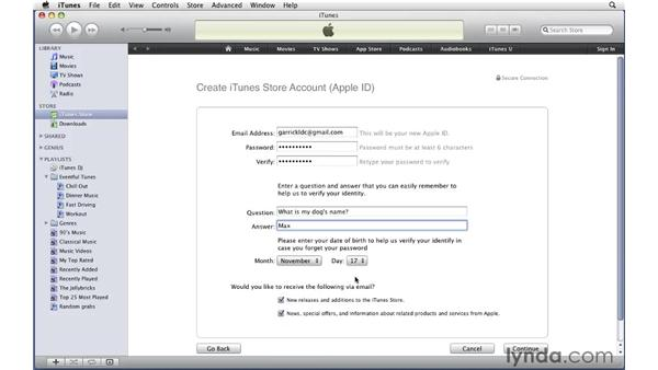 Creating an account: iTunes 9 Essential Training