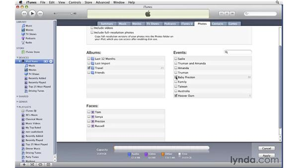Syncing photos from a Mac: iTunes 9 Essential Training