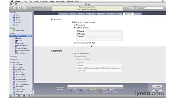 Syncing contacts and calendars from a Mac: iTunes 9 Essential Training