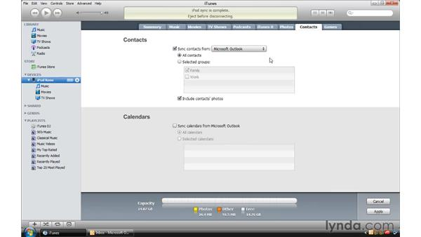 Syncing contacts and calendars from a Windows computer: iTunes 9 Essential Training