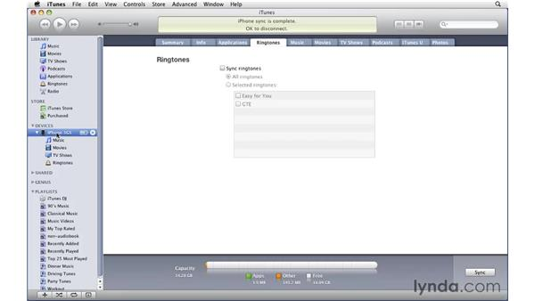 Syncing and setting iPhone ringtones: iTunes 9 Essential Training