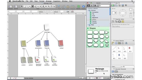 Understanding the Stencil window and inspectors: OmniGraffle Professional 5 Essential Training