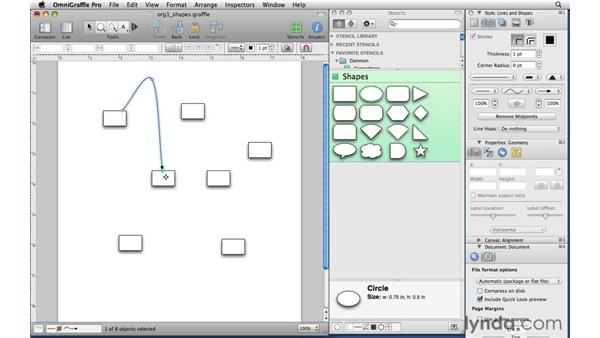 Connecting shapes with lines: OmniGraffle Professional 5 Essential Training