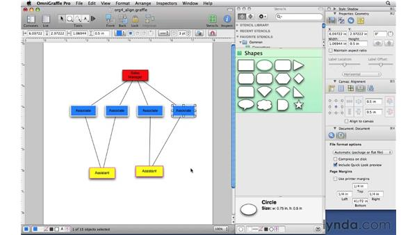 Aligning and distributing shapes: OmniGraffle Professional 5 Essential Training