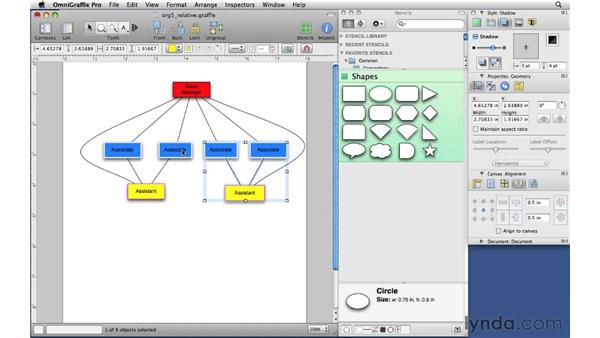 Combining shapes into groups: OmniGraffle Professional 5 Essential Training