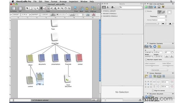 Adding connected shapes with the Diagram tool: OmniGraffle Professional 5 Essential Training