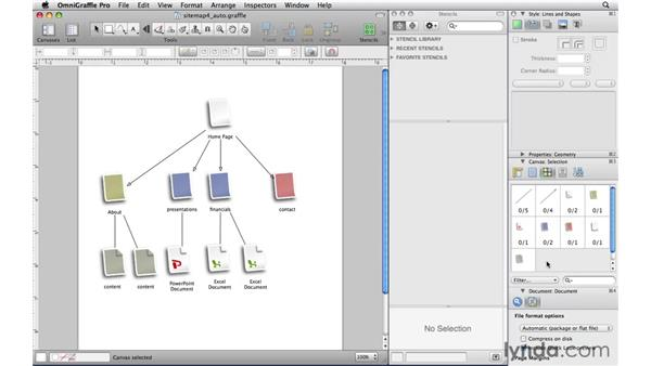 Making multiple selections with the Selection inspector: OmniGraffle Professional 5 Essential Training