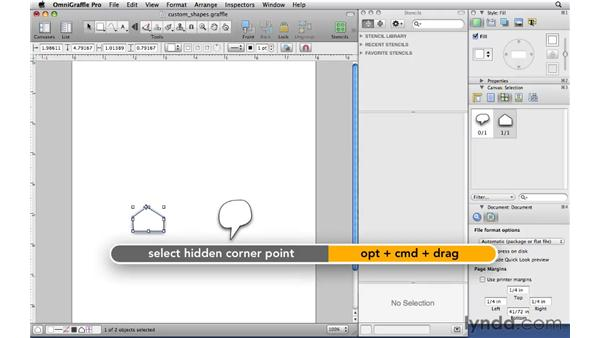 Editing custom shapes with the Selection tool: OmniGraffle Professional 5 Essential Training