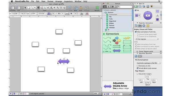 Using connecting shapes: OmniGraffle Professional 5 Essential Training