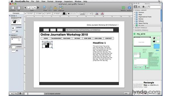 Working with canvases, layers, and shared layers: OmniGraffle Professional 5 Essential Training