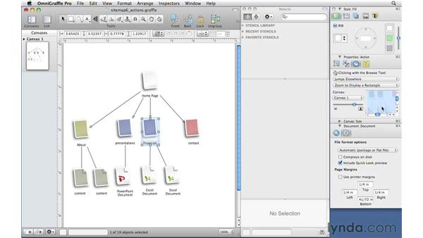 Adding interactivity with the Action inspector: OmniGraffle Professional 5 Essential Training