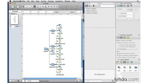 Importing folder structures from the Finder: OmniGraffle Professional 5 Essential Training