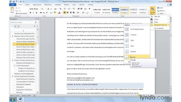 Working with document formatting for rapid reuse: Word 2010: Real-World Projects