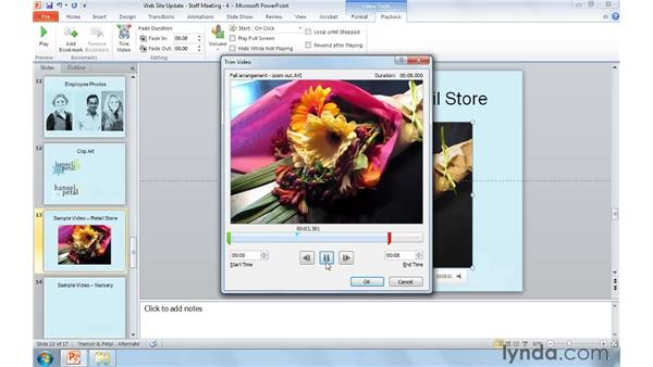 Using video in your presentations: PowerPoint 2010: Real-World Projects