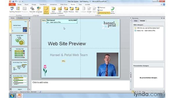 Reviewing presentations with a group: PowerPoint 2010: Real-World Projects