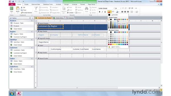 Formatting forms and reports with Office themes: Access 2010: Real-World Projects