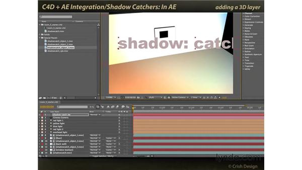 Catching shadows in After Effects: CINEMA 4D and After Effects Integration