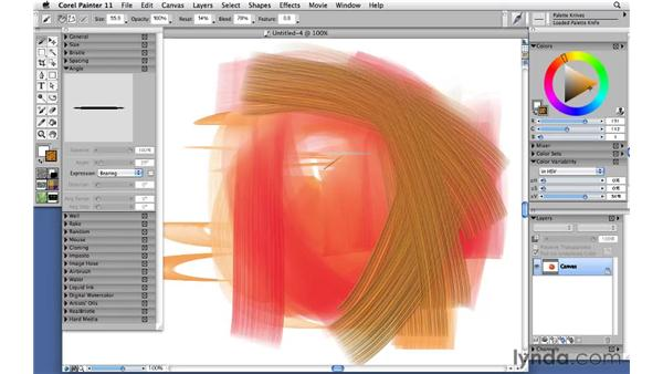 Modifying the bearing expression with palette knives: Corel Painter 11: Mastering Brushes