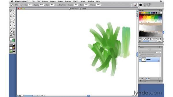 Using loaded brushes: Corel Painter 11: Mastering Brushes