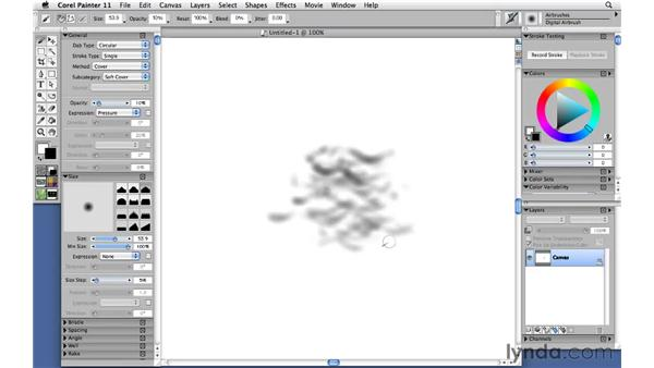 Using sponges and modifying captured dabs: Corel Painter 11: Mastering Brushes