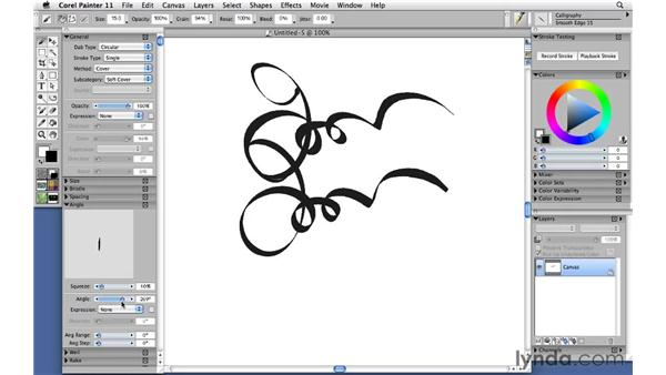 Drawing with calligraphy pens: Corel Painter 11: Mastering Brushes