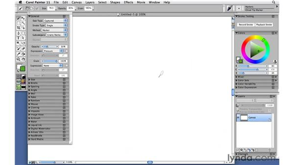 Using felt pens and markers: Corel Painter 11: Mastering Brushes