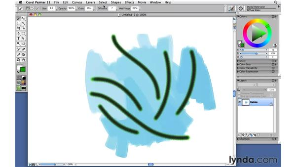 Painting with digital watercolor brushes: Corel Painter 11: Mastering Brushes