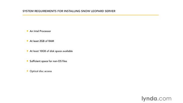 Requirements for running Snow Leopard Server: Mac OS X Server 10.6 Snow Leopard Essential Training