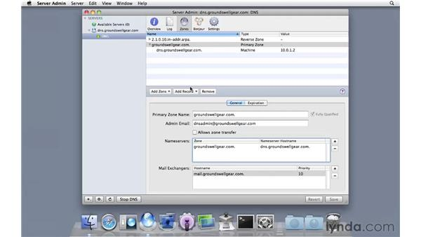 Setting up a primary DNS zone: Mac OS X Server 10.6 Snow Leopard Essential Training