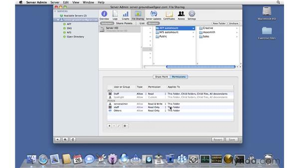 Setting POSIX permissions on files: Mac OS X Server 10.6 Snow Leopard Essential Training