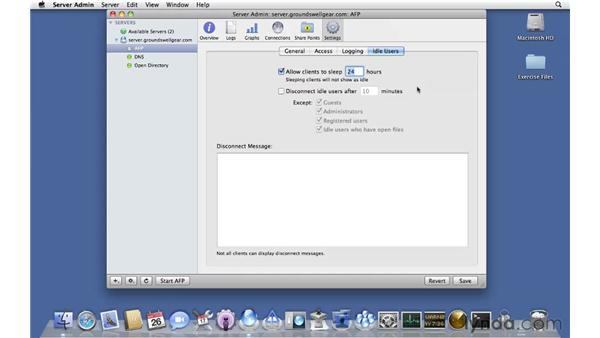Setting up AFP: Mac OS X Server 10.6 Snow Leopard Essential Training