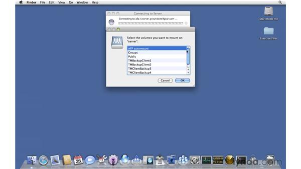 Connecting to AFP from a client: Mac OS X Server 10.6 Snow Leopard Essential Training