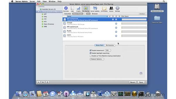 Enabling automounts for shared homes: Mac OS X Server 10.6 Snow Leopard Essential Training