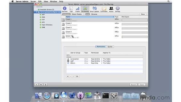 Setting up Time Machine destinations: Mac OS X Server 10.6 Snow Leopard Essential Training