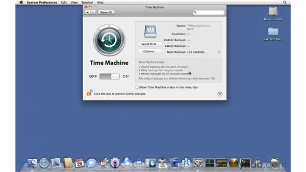 Connecting to a Time Machine destination: Mac OS X Server 10.6 Snow Leopard Essential Training