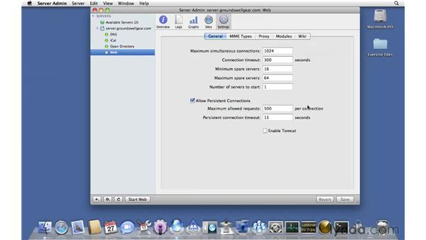 Configuring web services general options: Mac OS X Server 10.6 Snow Leopard Essential Training