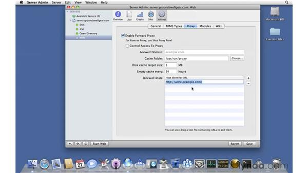 Configuring web proxy options: Mac OS X Server 10.6 Snow Leopard Essential Training