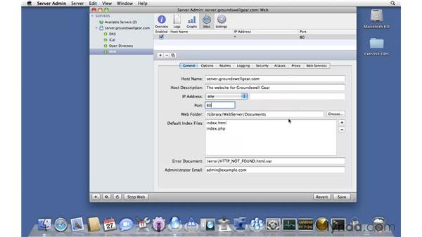 Defining a new web site: Mac OS X Server 10.6 Snow Leopard Essential Training