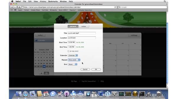 Setting up a group calendar: Mac OS X Server 10.6 Snow Leopard Essential Training