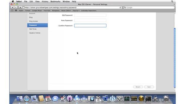 Setting up a personal blog: Mac OS X Server 10.6 Snow Leopard Essential Training