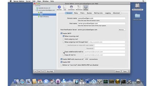 Customizing Mail services: Mac OS X Server 10.6 Snow Leopard Essential Training