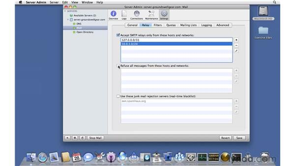 Customizing relay settings: Mac OS X Server 10.6 Snow Leopard Essential Training