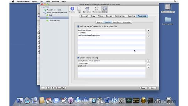 Working with advanced email settings: Mac OS X Server 10.6 Snow Leopard Essential Training
